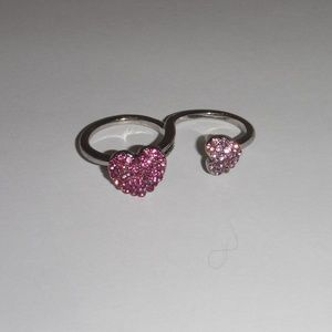 Double Heart Fashion Ring-Pink
